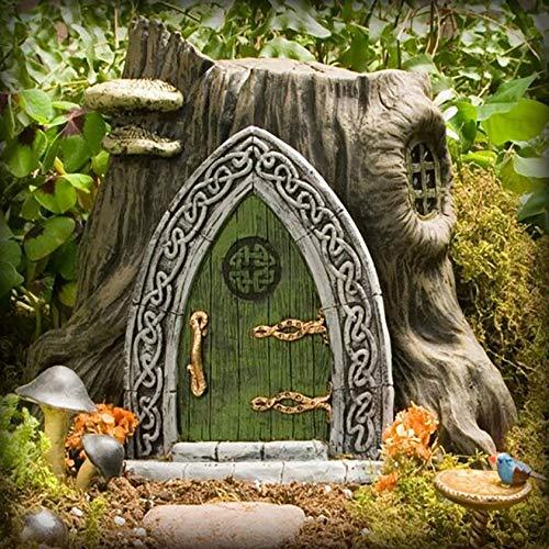 Fairy Gnome Home Miniature Window and Door with Litter lamp for Trees Decoration, Glow in Dark Fairies Sleeping Door and Windows, Yard Art Garden Sculpture, Lawn Ornament Décor