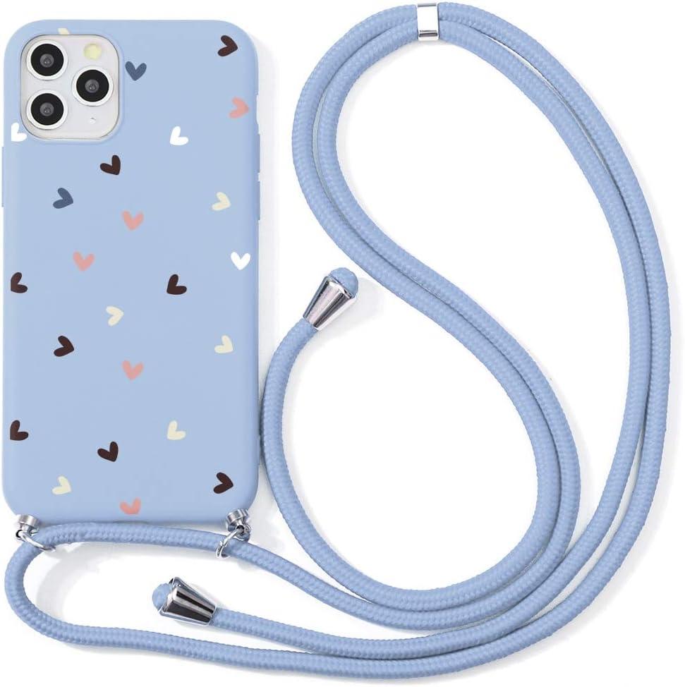 ZhuoFan Funda con Cuerda para Xiaomi Redmi 7 Carcasa Púrpura Silicona Dibujos Case con Correa Colgante Ajustable Collar Correa de Cuello Cadena Cordón para Redmi 7 Cuerda 6,26