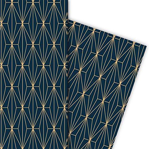 Kartenkaufrausch Elegantes Art Deko Geschenkpapier Set 4 Bogen mit grafischem Muster für tolle Geschenk Verpackung 32 x 48cm, universal Geschenkpapier für Geburtstage, Hochzeit, blau