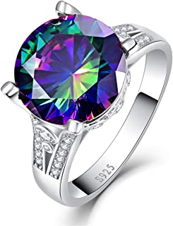 925 Sterling Silver Rings for Her 10.5ct Round Cut Created Mystic Rainbow Topaz Cubic Zirconia CZ Solitaire Promise Engagement Ring