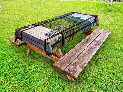 ABAKUHAUS Moderne Nappe Extérieure, Sunny Day Mountain View, Nappe de Table de Pique-Nique Lavable et Décorative, 145 cm x 210 cm, Pâle Vert foncé