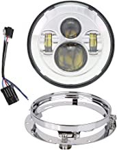 TRUCKMALL 7 inch LED Headlight, Sealed Housing, with Bracket Mounting Ring for Harley Davidson Touring Ultra Classic Electra Street Glide Fatboy Heritage Softail Slim Deluxe Switchback Road King