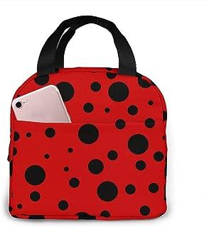 L6shop Bolsa de almuerzo portátil Polka Dot Ladybug Lunch Box Insulated Meal Bag Lunch Bag Reusable Snack Bag Food Container For Boys Girls Men Women School Work Travel Picnic