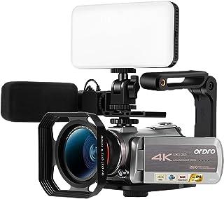 Ordro AZ50 4KカムコーダーウルトラHDビデオカメラ1080P 60FPS赤外線ナイトビジョン30Xデジタルズーム3.1インチIPSスクリーン、マイク付き、広角レンズ、レンズフード、2つのバッテリーキャリングケース