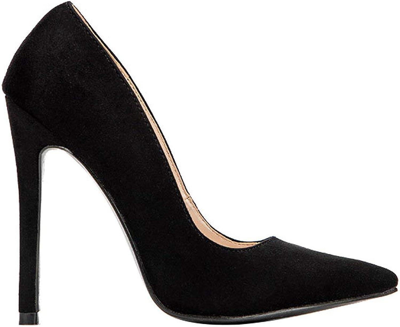 HANBINGPO LALA IKAI High Heels Leopard shoes Women Pumps Office Lady Pointed Toe Flock Sexy 12 cm Wedding Sapato Feminino 014C1722-49