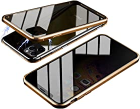 Magnetic Case for iPhone 11 Pro Max, HONTECH Slim Privacy Magnetic Adsorption FrontandBackTemperedGlasswithBuilt-inScreenProtectorMetalBumperFlipCover 6.5 inch, Gold