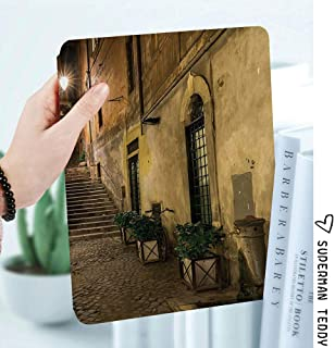Premium Folio Case for The iPad Mini 4,Smart Cover Folio Case Stand with Auto Sleep/Wake Function Compatible for iPad Mini 4 2015 Release 7.9 inch,Italian Decor,Old Courtyard in Rome Italy Cafe Chairs