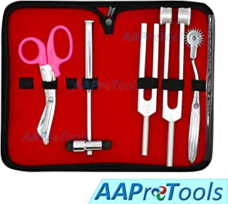 AAProTools 6 Piece Diagnostic Kit Medic Student - Reflex Hammer and Tuning Fork Set C 128 and C 512. Includes a Wartenberg Pinwheel and a Premium Pink Steel Bandage Scissor 5.5""