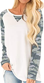 Women's Casual Long Sleeve Round Neck Loose Tunic T Shirt Blouse Tops with Pocket