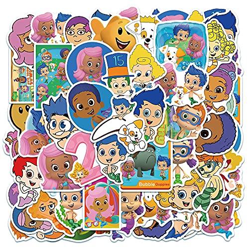SHUHU Dibujos Animados clásicos Bubble Guppy Equipaje Maleta Maleta monopatín Juguetes para niños Pegatinas Impermeables 50 Hojas