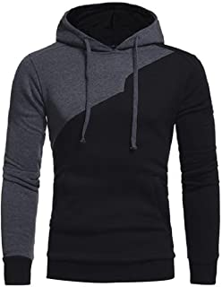 Sheng Xi Men's Plus Size Contrast Color Pullover Hood Hoodies Outerwear