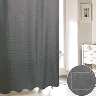 ARTBECK Plaid Grey Shower Curtain Checkered Embroidered Fabric Gingham Shower Curtain Strong Hooks Jacquard Shower Curtain Square Bath Curtain (Grey)