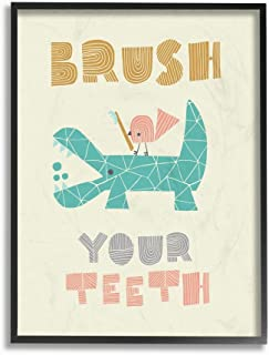 The Kids Room by Stupell Brush Your Teeth Mod Crocodile Framed Giclee Texturized Art, 11 x 1.5 x 14, Proudly Made in USA
