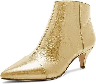 XYD Women Mid Low Kitten Heel Ankle Boots Pointed Toe Side Zips Prom Glitter Party Dress Booties