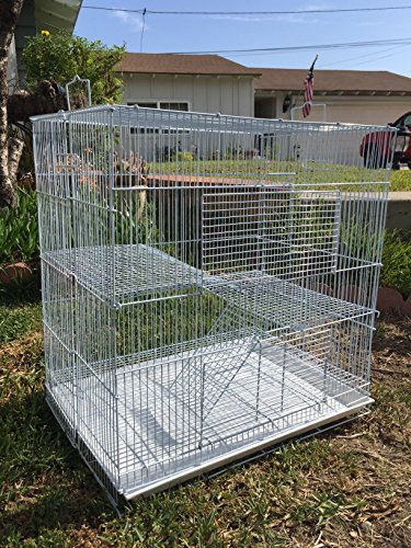 "New Medium 3 Levels Ferret Chinchilla Sugar Glider Cage 24"" Length x 16"" Depth x 24"" Height (White)"