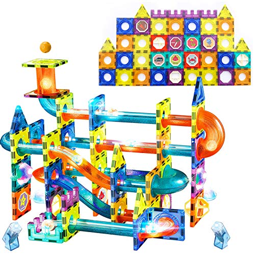 Magnetic Tiles, 3D Magnetic Building Blocks Set with Luminous Projection Lamps,ZAYOR Magnet Educational STEM Toys Building Set Gift for Kids Ages 3 4 5 6 7 8 Years Old Boys Girls(110PCS)