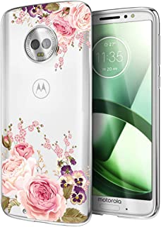 Ueokeird Moto G6 Case, Moto G (6th Generation) Case with Flowers, Slim Shockproof Clear Floral Pattern Soft Flexible TPU Back Phone Protective Cover for otorola Moto G6 5.7 Inch (Rose Flower)