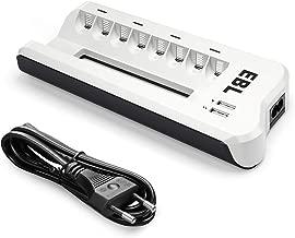 EBL 8 Ranuras Cargador Pilas Recargables para AA AAA NiMH NiCd con 2 Puertos USB
