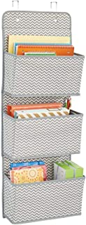 mDesign Over the Door Fabric Office Supplies Storage Organizer for Notebooks, Planners, File Folders - 3 Pockets, Gray/Cream
