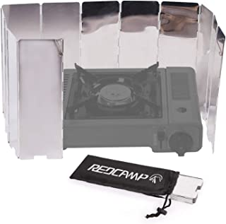 REDCAMP Folding Outdoor Stove Windscreen, 8/9/10/12 Plates Aluminum Camping Stove Windshield with Carrying Bag, Lightweight Butane Burner Windshield