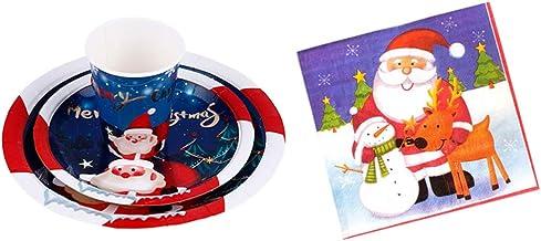 مجموعة أدوات المائدة الورقية لعيد الميلاد من Cabilock مطبوع عليها Santa Claus أطباق طعام للاستعمال مرة واحدة وأكواب مجموعة...