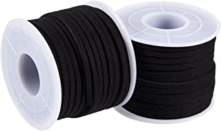 Faux Deerskin Lace Spool - 2-Pack 16.4-Yard Suede Leather Strap Beading Cord, Flat Leather Cord, Black, 0.1 Inches Wide and 49.2 Feet Long Each