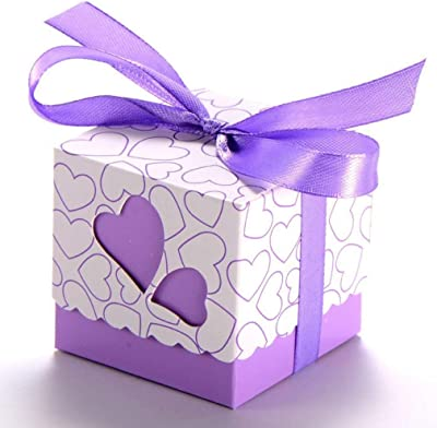 50pcs Heart Wedding Favor Box, TheBigThumb Sweet Candy Gift Box for Wedding Birthday Purple Favors