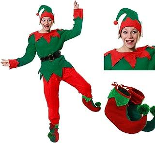 Collant Elfo Verde E Rosso Natale Santas Helper Taglia unica-Uomo e Donna