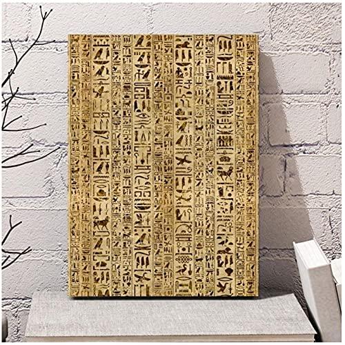 DLFALG Resumen jeroglíficos egipcios antiguos escritura cultura Egipto cultura cartel lienzo pintura pared arte imagen impresión decoración del hogar-50x70cm sin marco