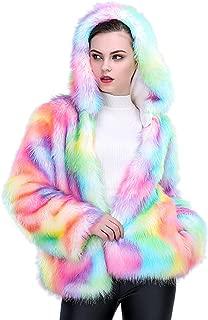 Women's Fashion Long Seelve Faux Fur Rainrow Color Fluffy Wrap Hooded Coat
