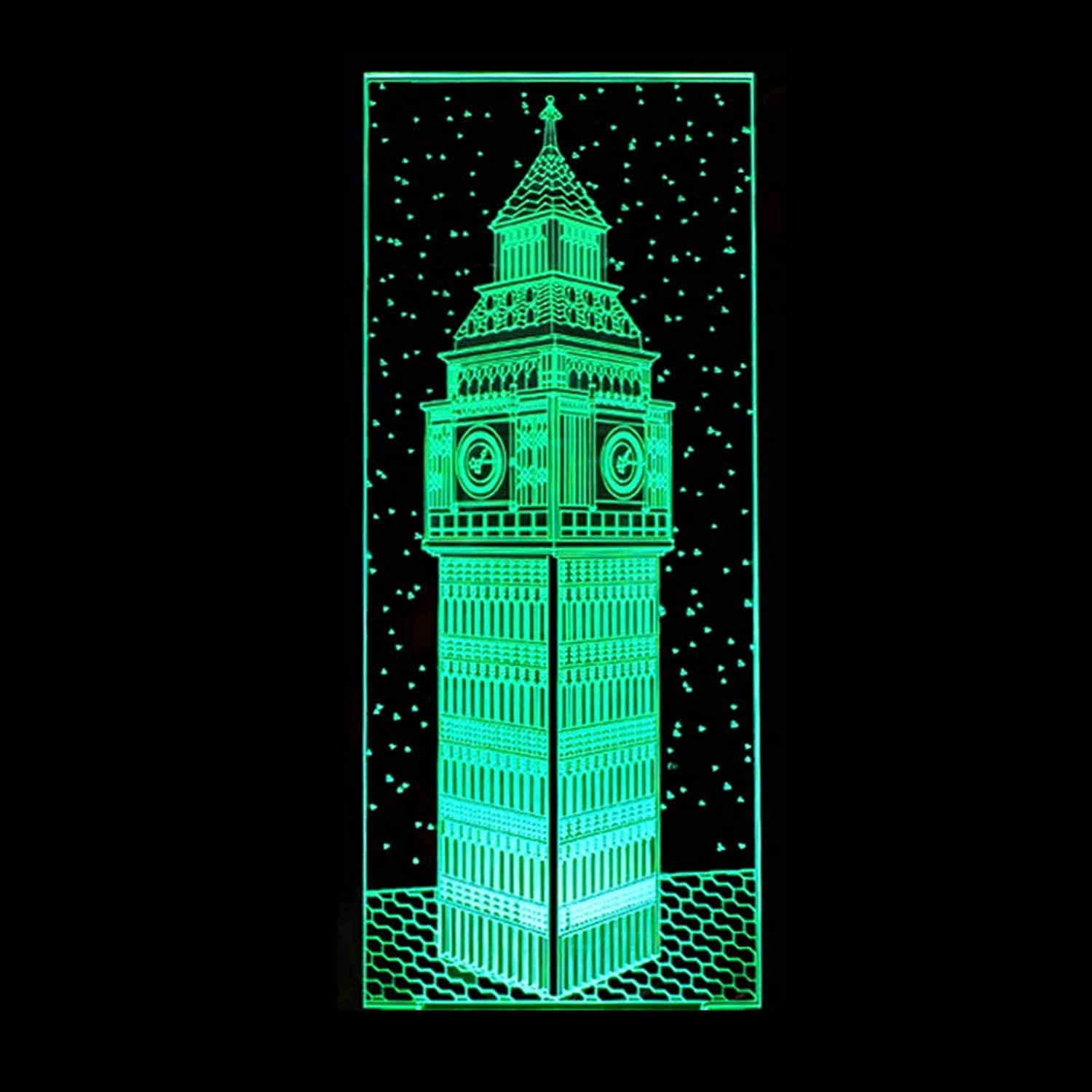 KAIYED 3D Night Light Big Ben 3D Light Touch Remote Control 3D Lamp Vision 7 color Change Table Lamps for Living Room Table Moderne Desk Lamp