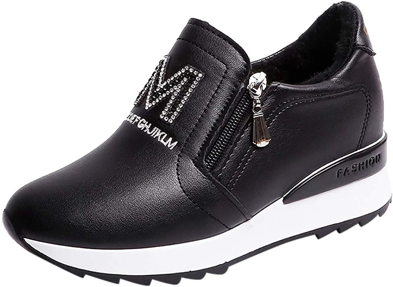 Fheaven Women's Hidden Wedge Sneakers thletic Sports shoes High Heel Platform Loafers Slip On
