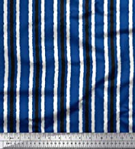 Soimoi Blue Poly Georgette Fabric Stripe Block Print Sewing Fabric BTY 42 Inch Wide