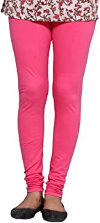 IndiWeaves Womens Premium Cotton Full Ankle Length Solid Colors Leggings-Pink-Free Size