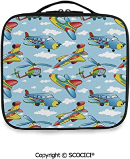 SCOCICI Printed Portable Storage Bag Cartoon Planes and Helicopters in the Air between Clouds Nursery Toy Artwork with Adjustable Compartments and Brush Slots