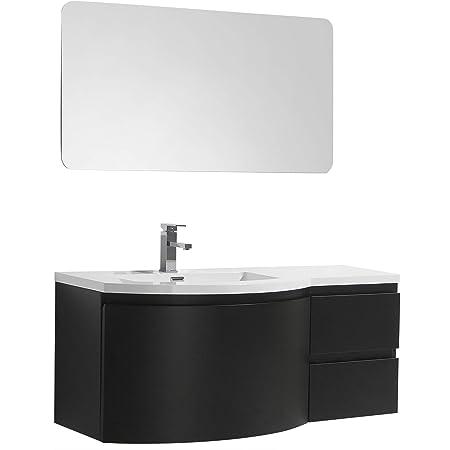 Badmobel Set Laurance 1200 Schwarz Matt Geschwungene Form Spiegel Ohne Spiegel Ausfuhrung Waschbecken Links Amazon De Baumarkt