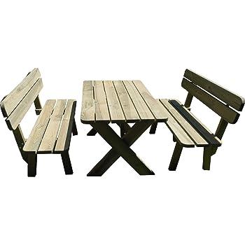 PLATAN ROOM Gartengarnitur Set aus massivem Kiefernholz 120 cm breit Tisch & Zwei Bänke Gartenmöbel (Set 1 (Tisch + 2 Bänke), 120 cm)