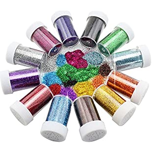 Xshelley Glitter Shakers for Children Kid's Craft Activities,Arts & Crafts Glitter,Card Making,Decorating,12 Assorted Colours:Comoparardefumar