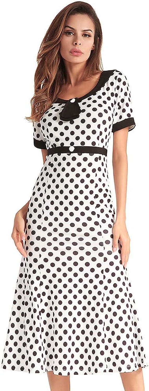 MTBDLYQ Woman'S Dress,Vintage Women Polka Dot Dress O Neck Short Sleeve Elegant Lady Mermaid Long Dress