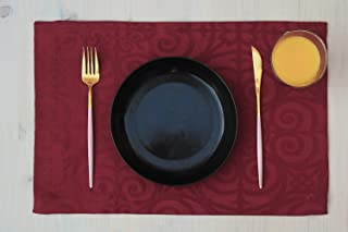 Red Placemats Set of 4, Cranberry Cloth Place Mats Dining Room, Burgundy Table Mats for Kitchen Table, Washable Decor Fies...