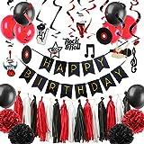 Easy Joy Anniversaire Musique Decoration Rock Happy Birthday Kit Noir Rouge Tourbillon Suspendu pour Enfant Fille Garcon