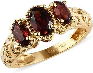 14 كيلو ذهب أصفر مطلي 925 فضة استرليني بيضاوي العقيق ثلاثي المخرم مجوهرات للنساء 0.9 Cttw