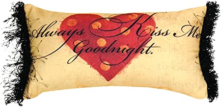 Manual Woodworkers & Weavers Word Pillow, 16 x 9, Always Kiss Me Goodnight