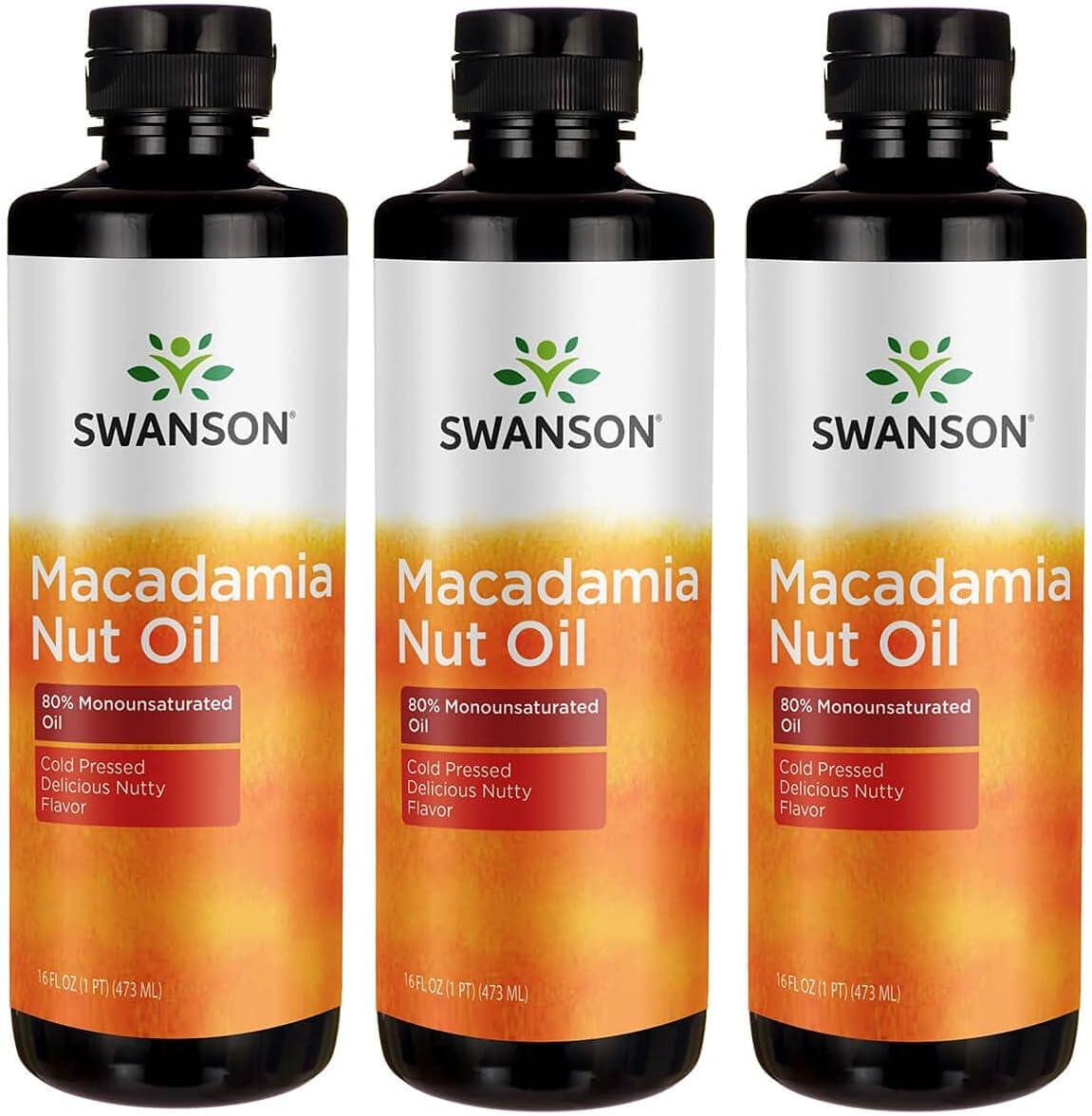 Swanson Macadamia Nut Oil, Cold Pressed 16 fl oz Liquid 3 Pack
