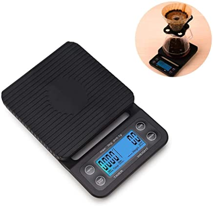 Flyme 3kg/0.1g Drip Coffee Timer,Electronic Digital Coffee Scale Digital Kitchen Timer,LCD Dispaly Coffee Drip Scale with Mat,Black