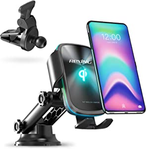 Rexing Motorized Wireless 15W/7.5W Qi Charging Car Mount w/Auto Sensing Automatic Clamping, Windshield Air Vent Car Phone Mount, Compatible w/iPhone, Android, Galaxy Smartphones