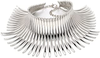 Statement Necklace for Women Exotic Stunning Canine Shape Metal Choker Collar Statement Necklace