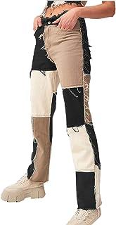 Women Patch Flare Jeans Bell Bottom Raw Hem Denim Pants...