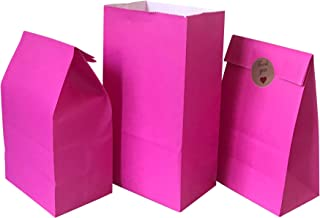 Party Favor Bag 50 pcs Food Safe Paper and Ink, Natural (Biodegradable), Vivid Colored Self-Stand Buffet Bags, Bottom Squa...