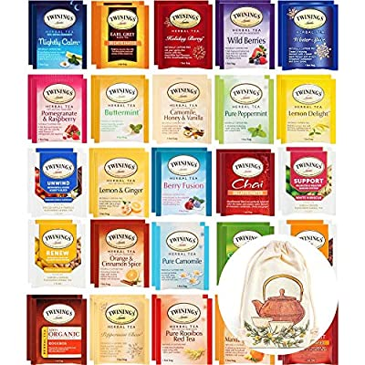 Twinings Herbal and Decaf Tea Bags Sampler - Gift Variety Set - 50 Ct, 25 Flavors by Twinings